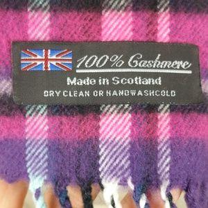 Cashmere Purple Pink Plaid Scarf 11.5x65 Scotland